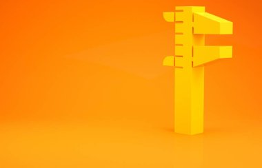 Yellow Calliper or caliper and scale icon isolated on orange background. Precision measuring tools. Minimalism concept. 3d illustration 3D render