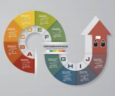 Abstraktní infographis 10 kroků s šipkou obrazce prvků
