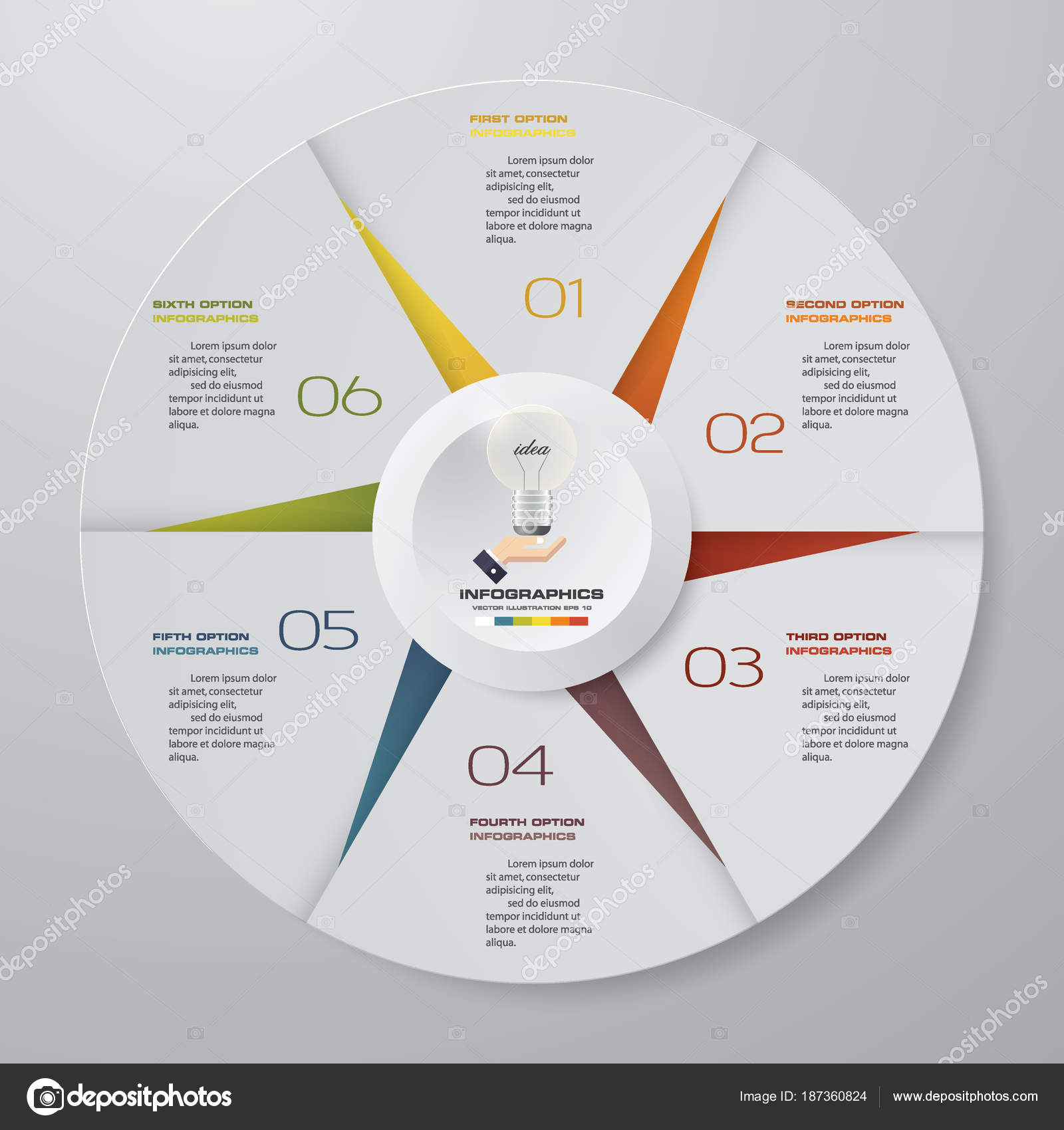 abstract steps modern pie chart infographics elements vector