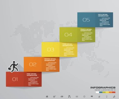 5 steps Timeline arrow infographic element. 5 steps infographic, vector banner can be used for workflow layout, diagram,presentation, education or any number option. EPS10.