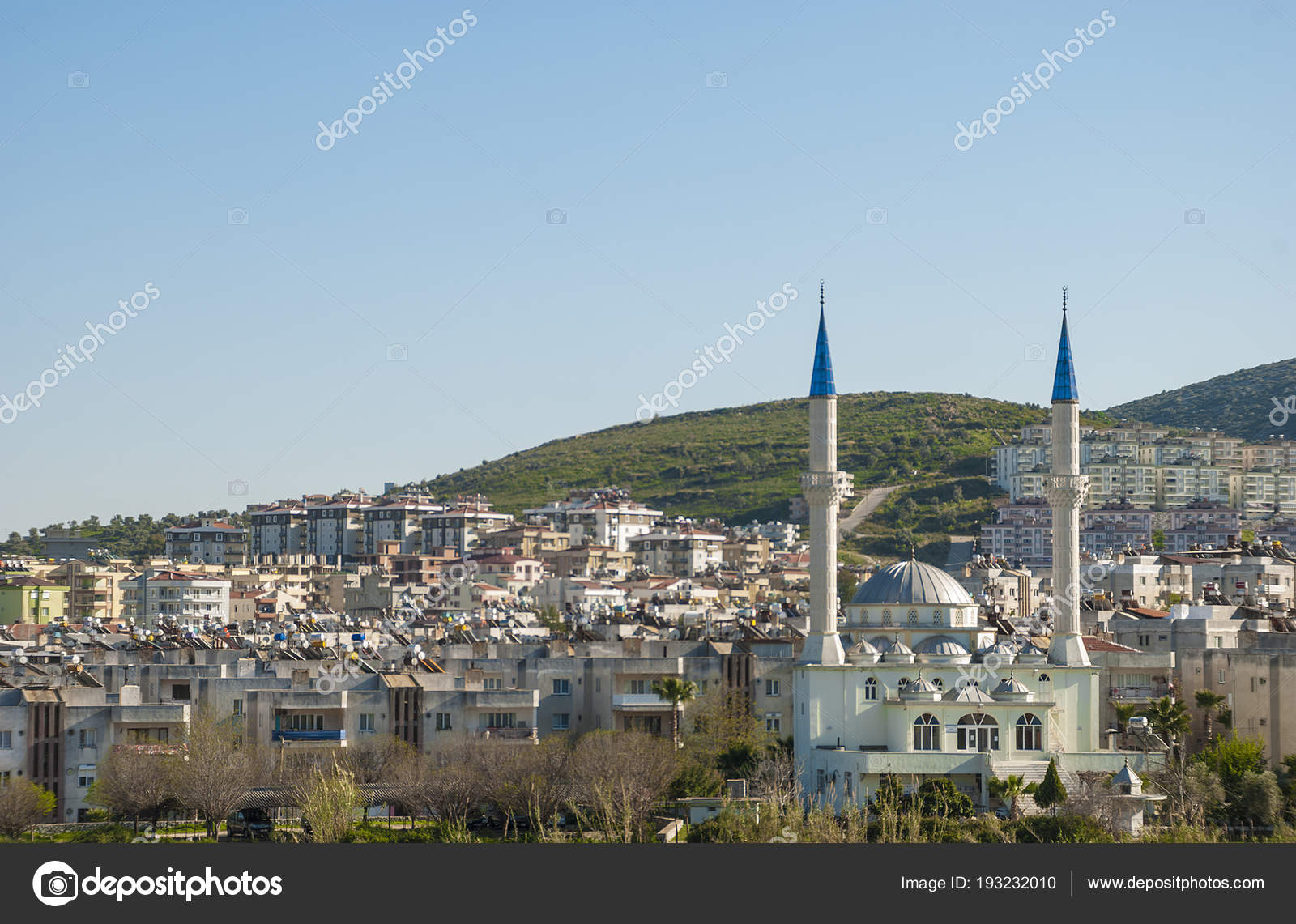 milas, provinces of mugla, turkey -march 18, 2014:view of the mosque