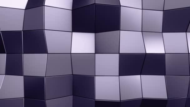 Absztrakt háttér animáció lila hullámzó sima poligon felület üveg fekete alapon, Animáció zökkenőmentes hurok