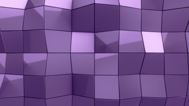 Abstraktní pozadí s animací fialového vlnění hladký polygonální povrch ze skla na černém pozadí, Animace bezešvé smyčky