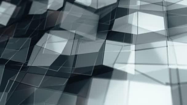 Abstraktní pozadí s animací šedého vlnění hladký polygonální povrch ze skla na černém pozadí, Animace bezešvé smyčky