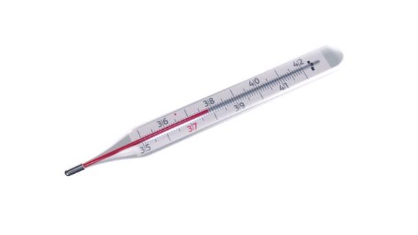 Animáció üveg higany hőmérő változó hőmérsékletű elszigetelt fehér háttér, Animáció zökkenőmentes hurok
