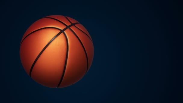 Animáció lassú forgatás narancs labda kosárlabda játék reális textúra és fény fekete háttér, zökkenőmentes hurok