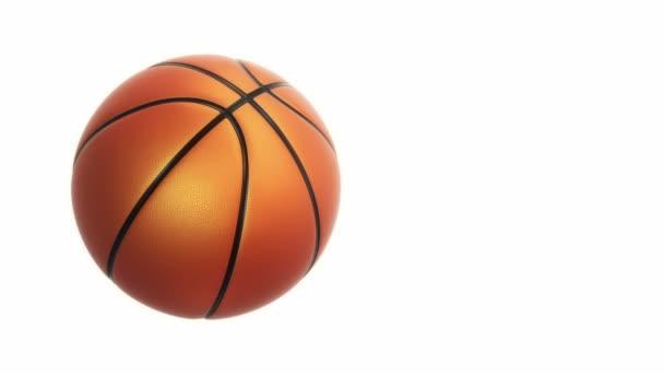 Animace pomalého otáčení oranžový míč pro basketbal hra s realistickou texturou a světlo izolované na bílém pozadí, bezešvé smyčky