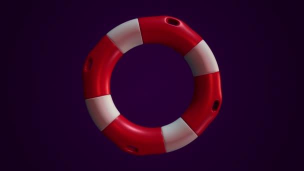 Animation der langsamen Rotation weißer und roter Rettungsring auf lila Hintergrund, Animation der nahtlosen Schleife