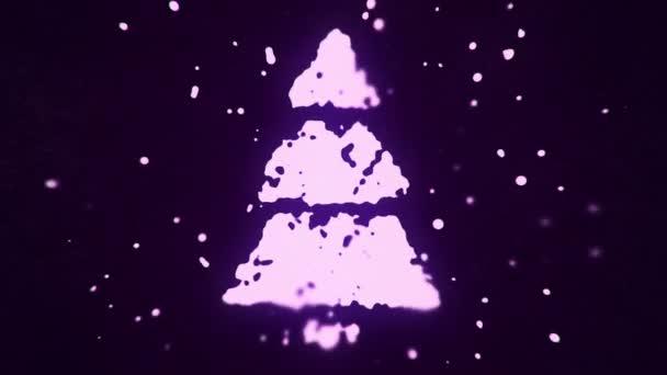 repülő folyadék és folyékony részecskék alkotnak fenyőfa szimbólum sötét alapon, animáció zökkenőmentes hurok