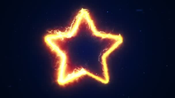 Animace ohnivé energie vycházející ze symbolu hvězdy. Animace bezešvé smyčky