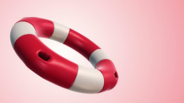 Animáció a lassú rotáció fehér és piros élet gyűrű rózsaszín háttér, Animáció a zökkenőmentes hurok