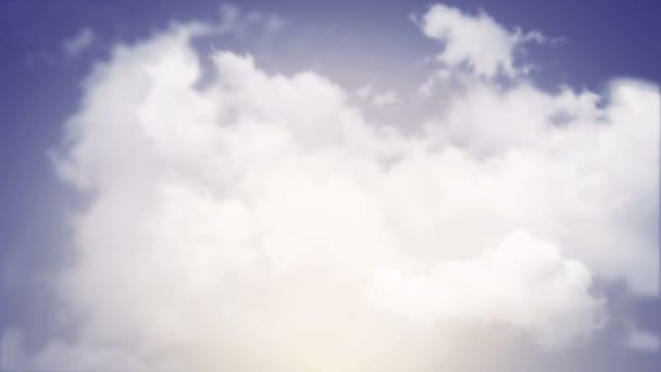 Animace letu nad bílými mraky na pozadí fialové oblohy, Animace bezešvé smyčky