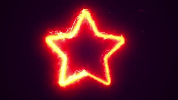 Animáció a tűz energia áramló csillag szimbólum. Zökkenőmentes hurkok animációja