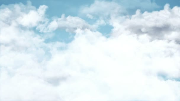 Animation of flight over white clouds on blue sky background, Animation of seamless loop
