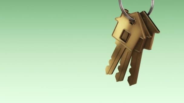Animation des metallischen Rings mit goldenen Schlüsseln aus dem neuen Zuhause auf grünem Hintergrund, Animation der nahtlosen Schleife