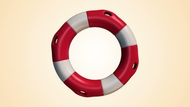 Animation der langsamen Rotation weißer und roter Rettungsring auf gelbem Hintergrund, Animation der nahtlosen Schleife