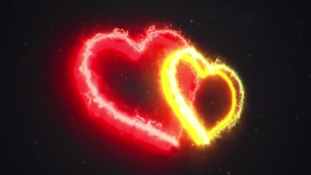 Animation of fire flowing from heart symbols . Animation of seamless loop