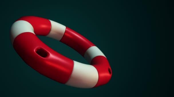 Animation der langsamen Rotation weißer und roter Rettungsring auf grünem Hintergrund, Animation der nahtlosen Schleife