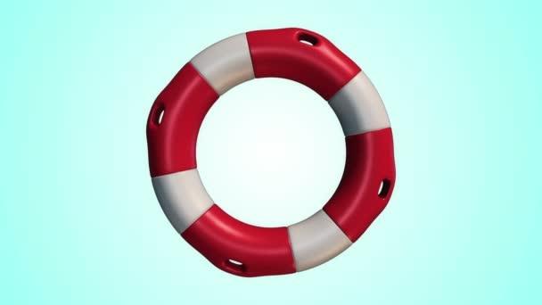 Animation der langsamen Rotation weißer und roter Rettungsring auf blauem Hintergrund, Animation der nahtlosen Schleife