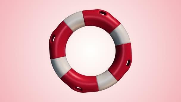 Animation der langsamen Rotation weißer und roter Rettungsring auf rosa Hintergrund, Animation der nahtlosen Schleife