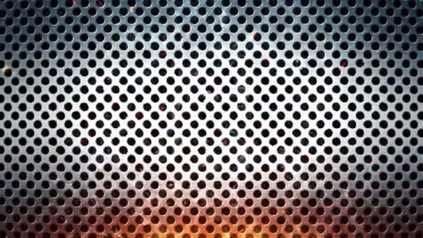 3D animační záběry kovového povrchu s plameny jisker