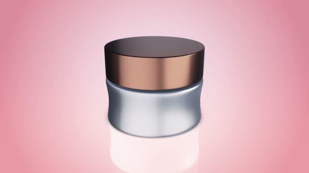 Kézkrém vagy arckrém üvegdobozban fényes síkon. Animáció kozmetikai csomagoláshoz.