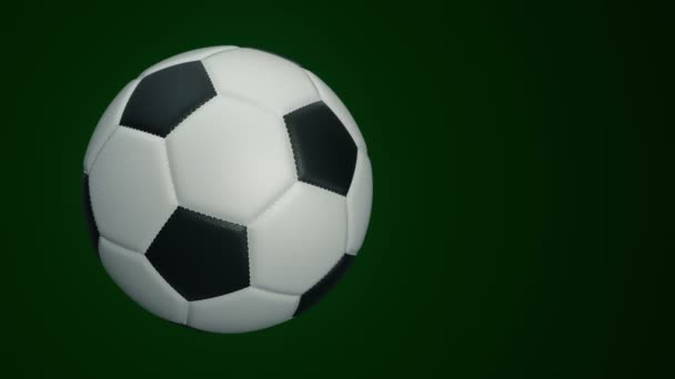 Ball for soccer with realistic leather texture rotate on background. Animation of seamless loop.