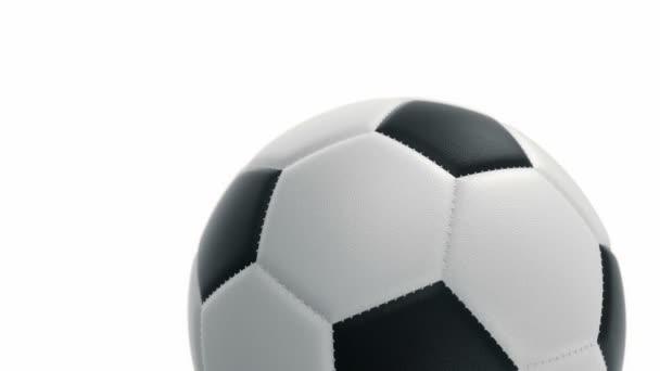 Labda a foci realisztikus bőr textúra forog a háttérben. Zökkenőmentes hurkok animációja.