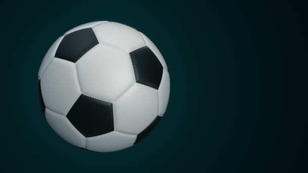 Míč pro fotbal s realistickou koženou texturou se otáčí na pozadí. Animace bezešvé smyčky.