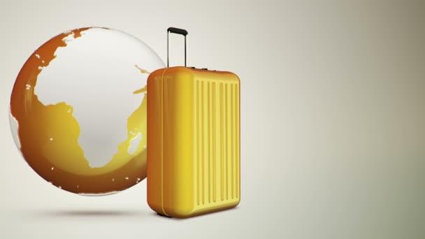 3D animační záběry zavazadel a glóbu, bezešvé smyčky