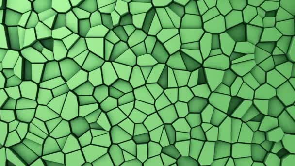 Technological background with animation of wave mosaic of green polygons, Animation of seamless loop