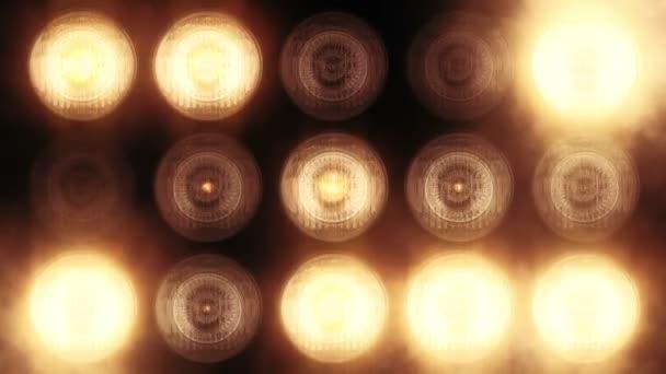 Animáció arany villogó izzók vezetett falon, Animáció zökkenőmentes hurok, színpadi fények koncepció