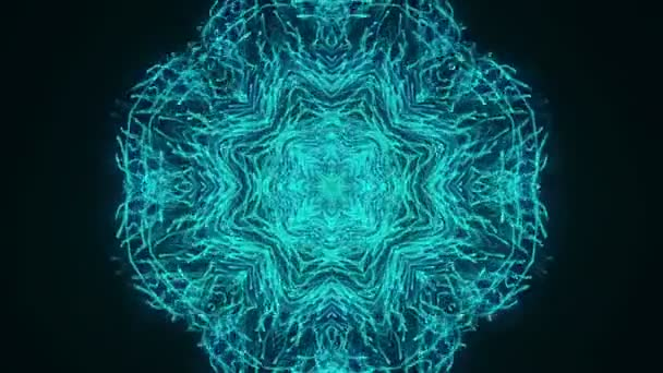 Abstract dark background with animation of slow moving turquoise particles in form of snowflake . Animation of seamless loop.