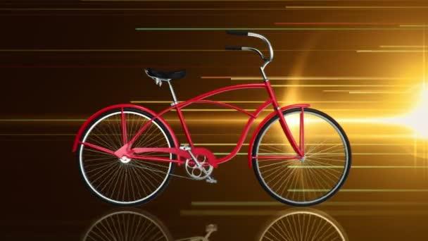 Animace rychlého jízdy červené městské kolo na zlatém pozadí, Animace bezešvé smyčky