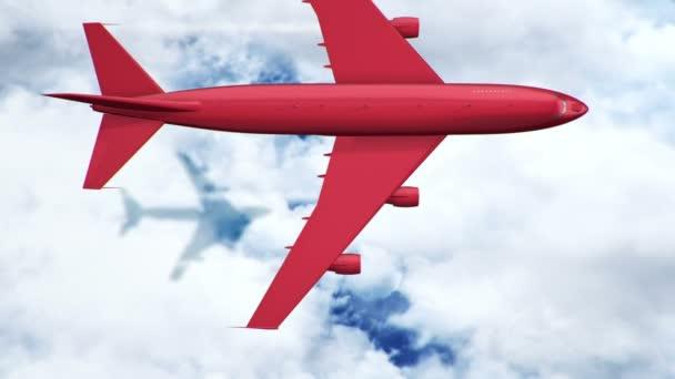 Animace červeného létajícího letadla nad mraky a mořem, Animace bezešvé smyčky