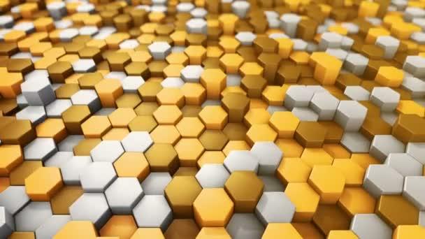 Abstrakter technologischer Hintergrund mit Animation des Wellenmosaiks aus goldenen Sechsecken, Animation einer nahtlosen Schleife.