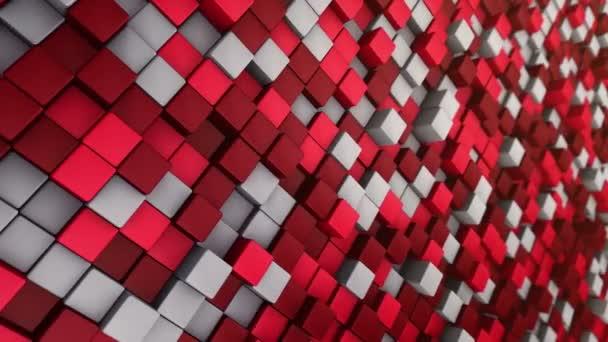 Technologické zázemí s animací vlnové mozaiky červených čtverců, Animace bezešvé smyčky