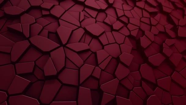 Technológiai háttér animáció hullám mozaik piros sokszögek, Animáció zökkenőmentes hurok