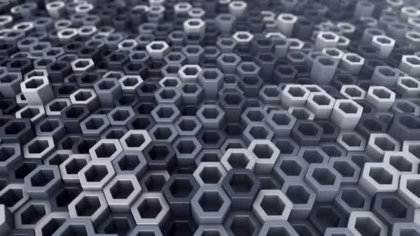 Abstrakter technologischer Hintergrund mit Animation eines Wellenmosaiks aus grauen Sechsecken, Animation einer nahtlosen Schleife.