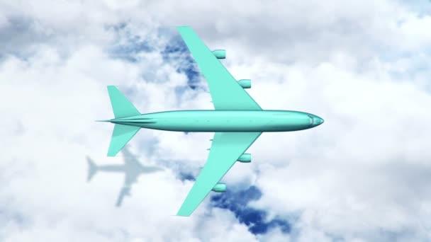 Animace tyrkysového letadla nad mraky a mořem, Animace bezešvé smyčky