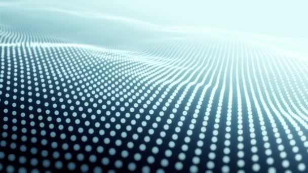 Abstraktní pozadí s vlnitými liniemi z tyrkysových bodů, Animační vlnky na povrchu z neonových linií, Animace bezešvé smyčky