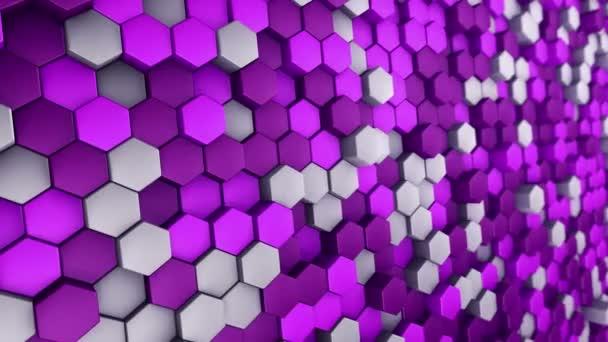 abstrakter technologischer Hintergrund mit Animation des Wellenmosaiks aus violetten Sechsecken, Animation einer nahtlosen Schleife.