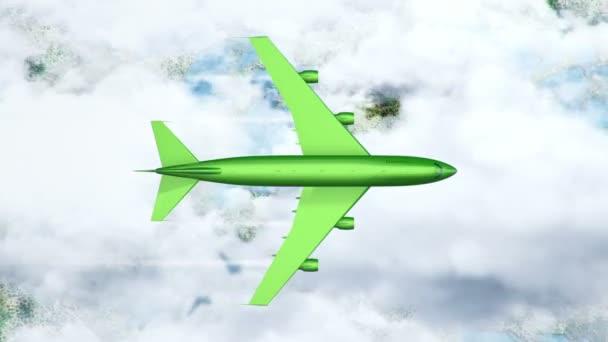 Animace zeleného létání nad mraky a pevninou, Animace bezešvé smyčky