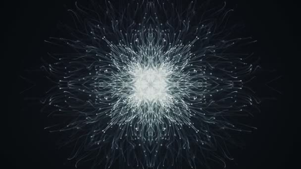 Abstract dark background with animation of slow moving grey particles in form of snowflake . Animation of seamless loop.