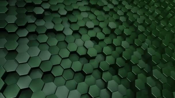 Abstrakter technologischer Hintergrund mit Animation des Wellenmosaiks aus grünen Sechsecken, Animation einer nahtlosen Schleife.