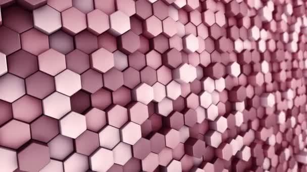 Abstrakter technologischer Hintergrund mit Animation des Wellenmosaiks roter Sechsecke, Animation einer nahtlosen Schleife.
