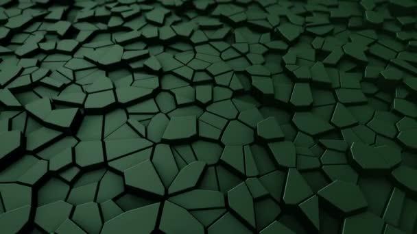 Technológiai háttér animáció hullám mozaik zöld sokszögek, Animáció zökkenőmentes hurok