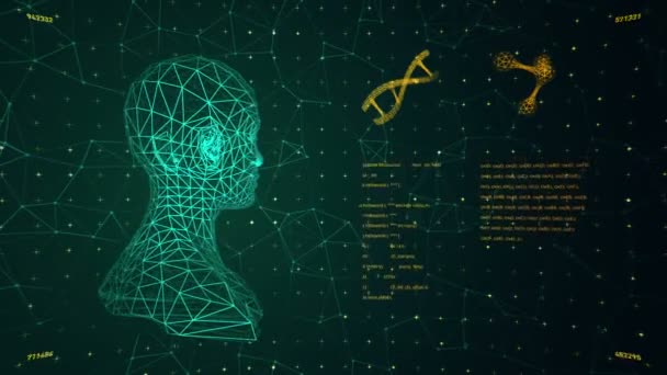 Pozadí s animací abstraktního rozhraní. Lidské tělo, DNA spirály a modely atomu ve stylu wireframe a animační programovací kódy. Animace bezešvé smyčky.