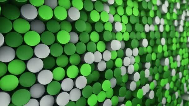 Technologické zázemí s animací vlnové mozaiky zelených válců, Animace bezešvé smyčky