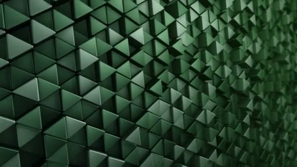 Abstract technological background with animation of wave mosaic of green triangles, Animation of seamless loop.